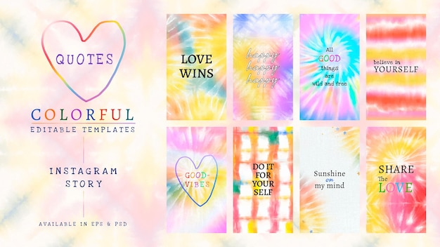 Colorful editable template psd for social media story tie dye set