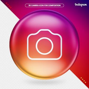 カメラinstagramアイコンとカラフルな楕円