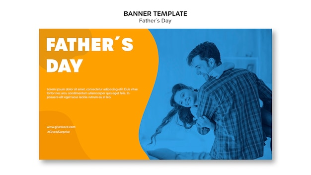 Colorful fathers day banner template