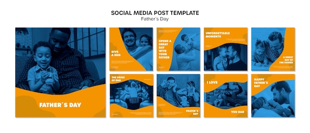 Colorful fathers day instagram post template