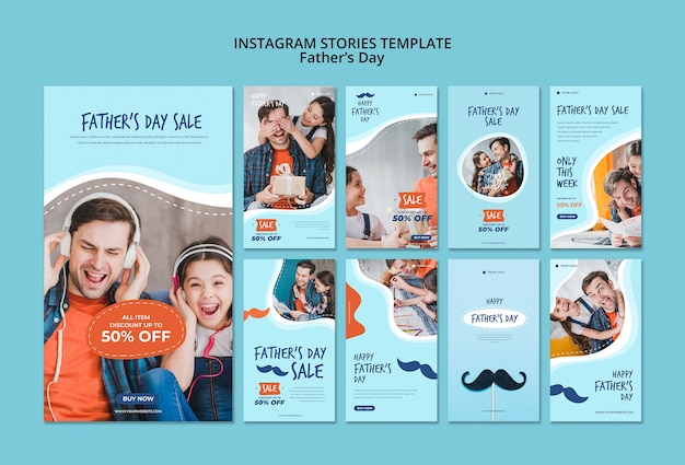 Colorful fathers day instagram stories template