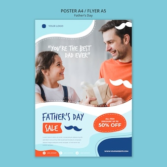 Colorful fathers day poster template