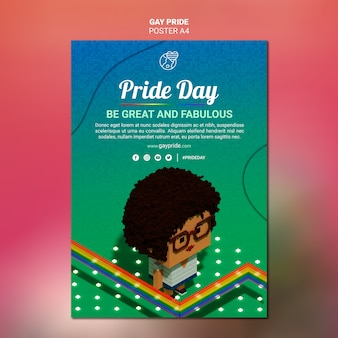 Colorful gay pride flyer template