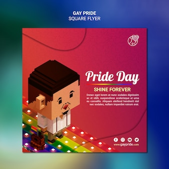 Colorful gay pride square flyer template