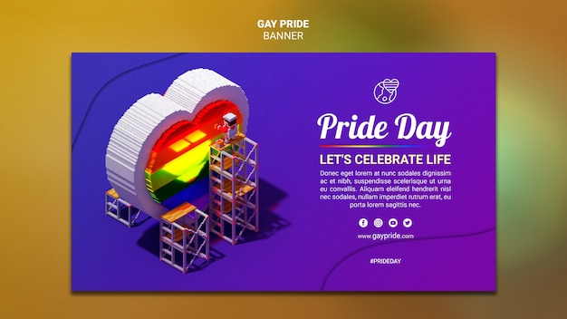 Colorful gay pride template banner