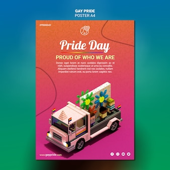 Colorful gay pride template flyer