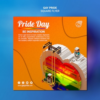 Colorful gay pride template square flyer