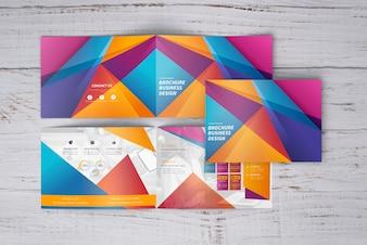Colorful geometric brochure mockup of three