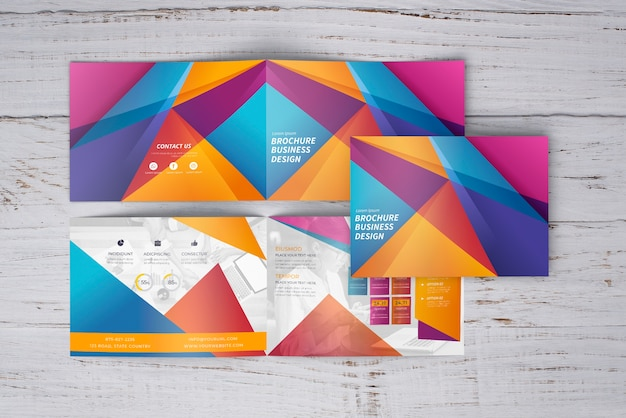 Colorful geometric brochure mockup of three