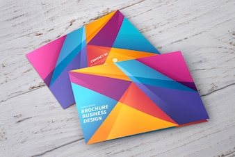 Colorful geometric brochure mockup