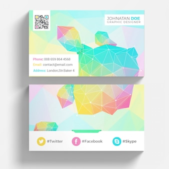 Colorful geometric business card mockup