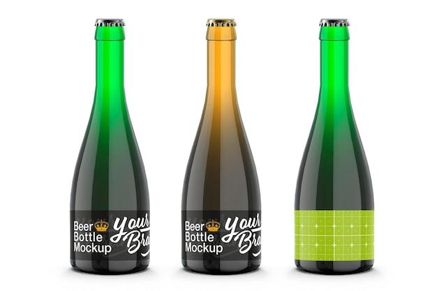 3dレンダリングでカラフルなガラスビール瓶のモックアップデザイン
