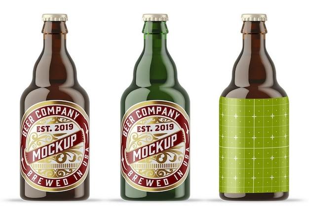 カラフルなガラスのビール瓶のモックアップ