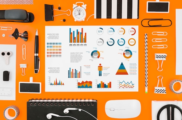 Colorful graphics mock-up on orange background