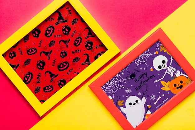 Colorful halloween concept frames