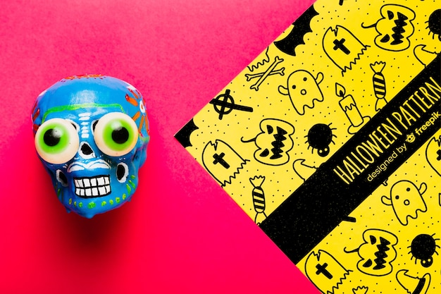 Colorful halloween concept with skull