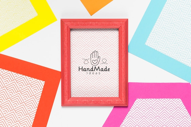 Colorful handmade frame with mock-up
