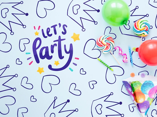 Mock-up colorato concetto di buon compleanno