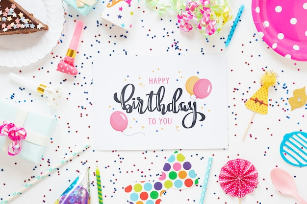 Colorful happy birthday concept mock-up