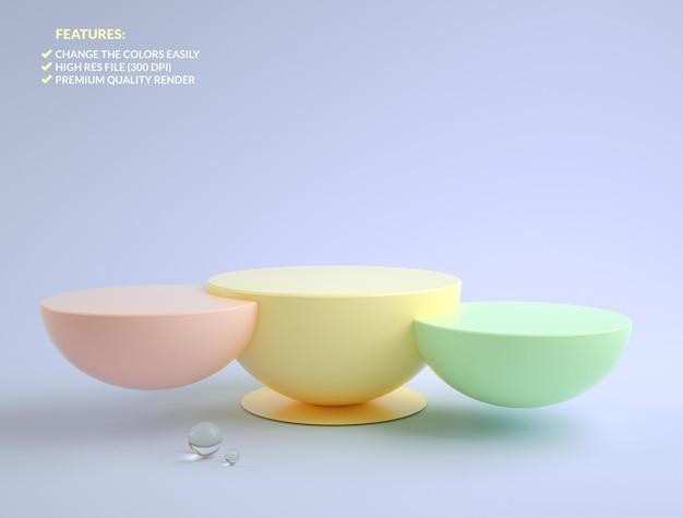 3d 렌더링의 다채로운 반구 연단