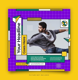 Colorful instagram feed social media template