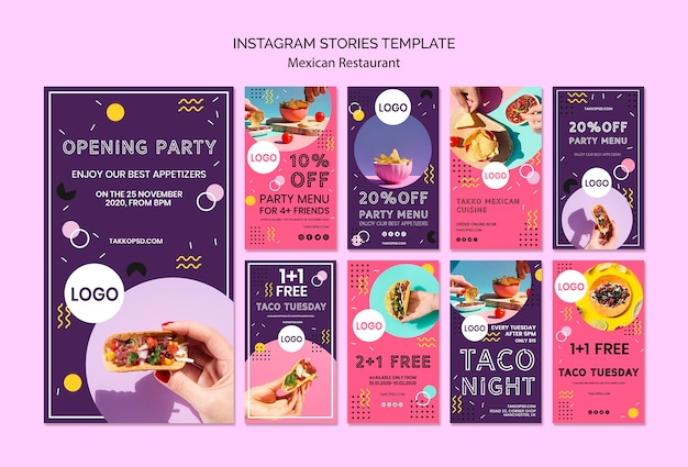 Colorful instagram stories template of mexican food