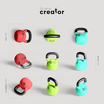 Colorful kettlebells mock-up