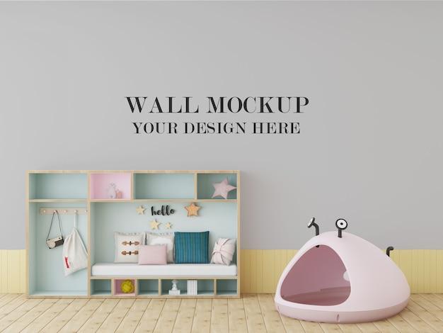 おもちゃでカラフルな子供部屋の壁のモックアップ
