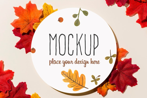Colorful leaves arrangement mock-up