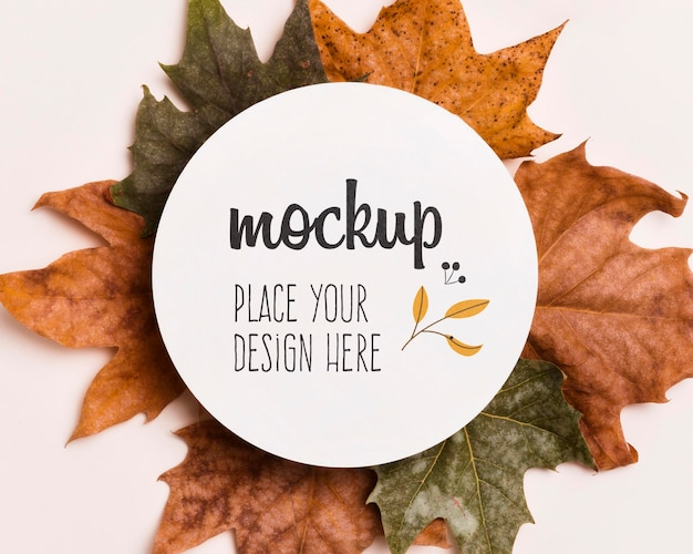 Colorful leaves mock-up design