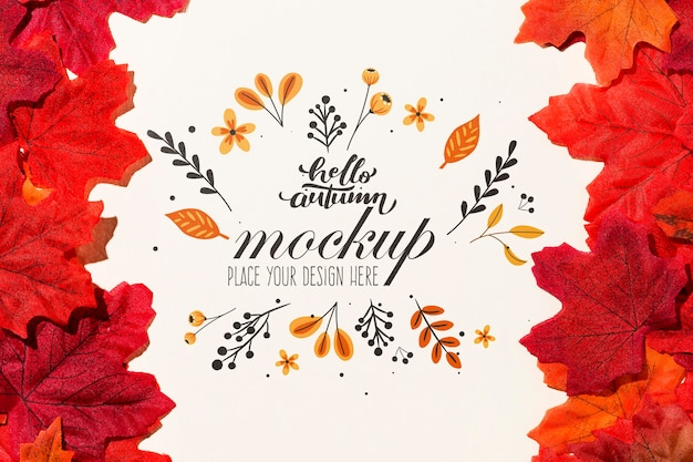 Colorful leaves mock-up style