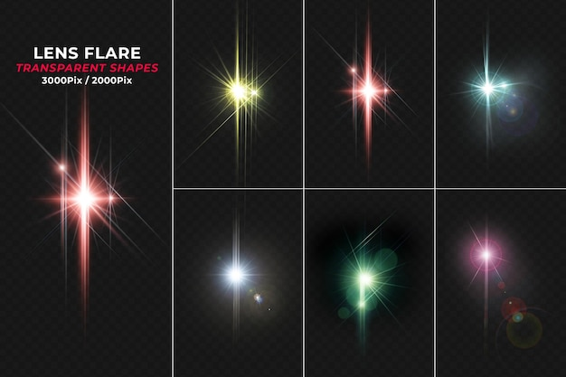 Colorful lens flare isolated