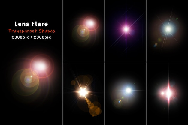 Colorful lens flare with realistic style collections Premium Psd