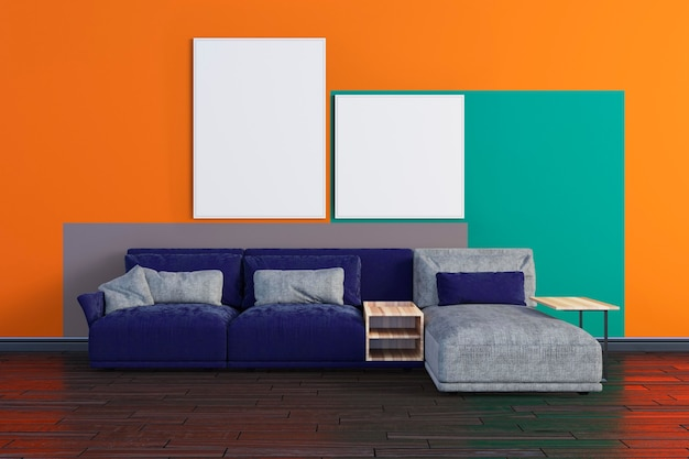 Colorful living room canvas mockup