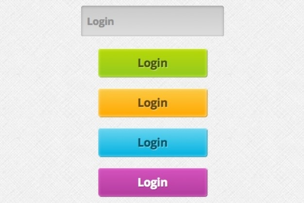 Colorful login buttons psd material
