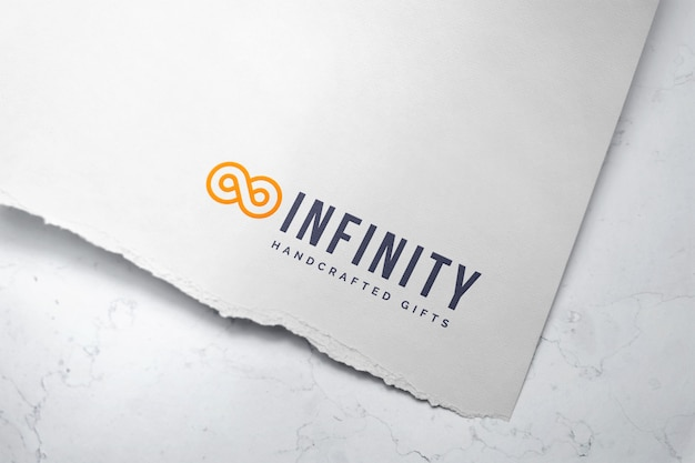 Colorful logo mockup on ripped edge paper