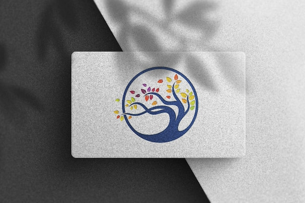 Colorful logo mockup on a white business card