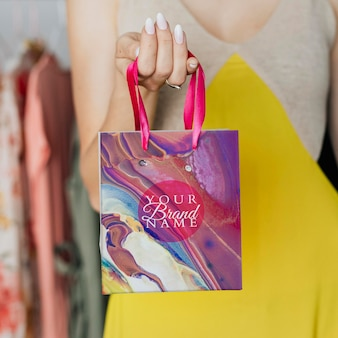 Красочный мраморный макет сумки для покупок psd diy экспериментальное искусство