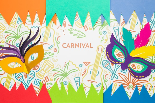 Разноцветные маски для карнавала с бумажными вырезами