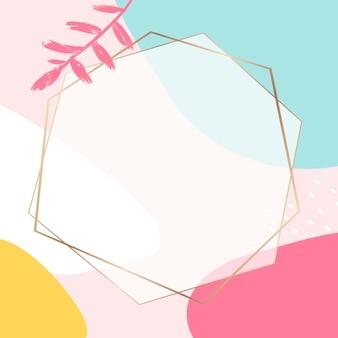 Cornice dorata colorata memphis psd con spazio di progettazione