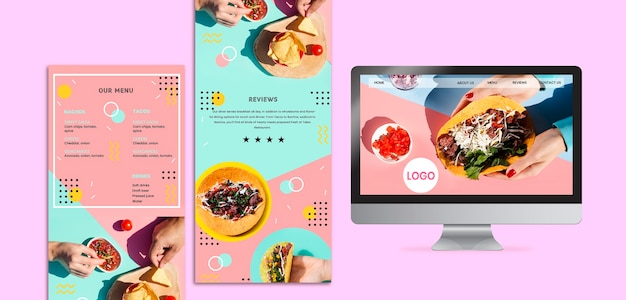 カラフルなメキシコ料理のモックアップ