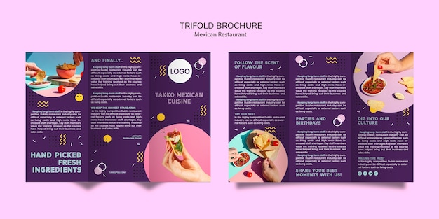 Colorful mexican food trifold brochure mock-up