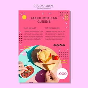 Colorful mexican restaurant flyer