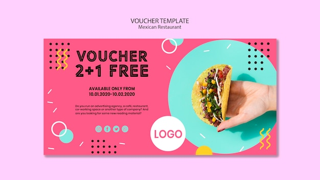 Colorful mexican restaurant voucher  template