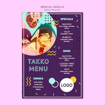 Colorful mexican restraurant food menu