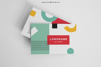 Colorful modern business card mockup