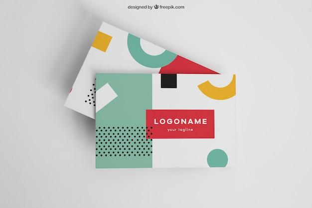 Colorful modern business card mockup