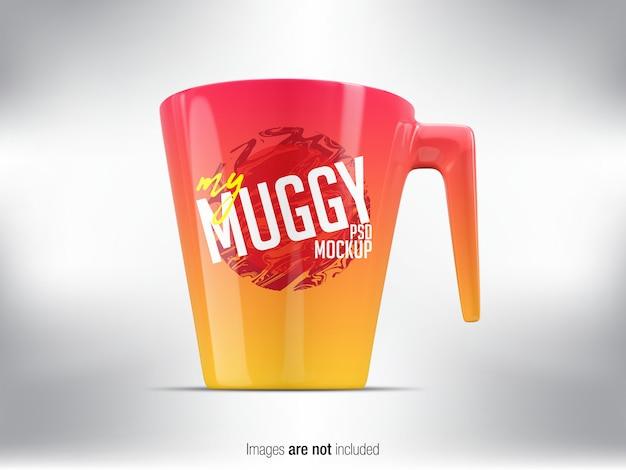 Colorful mug psd mock-up front view