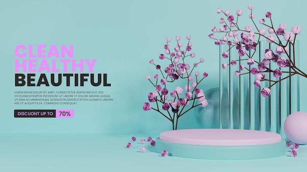 유리와 장미가 있는 다채로운 자연 연단