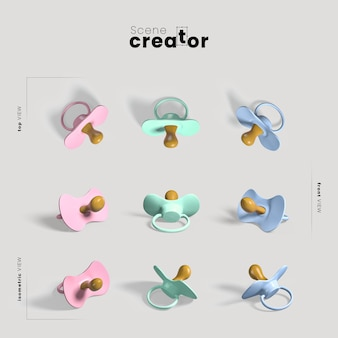 Colorful pacifiers scene creator